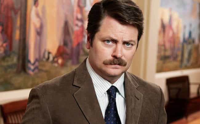 Ron Swanson is listed (or ranked) 2 on the list The Most Excellent TV Character Mustaches