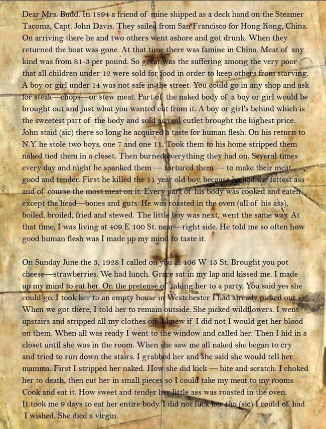 Albert Fish is listed (or ranked) 4 on the list The Most Insane Letters From Serial Killers