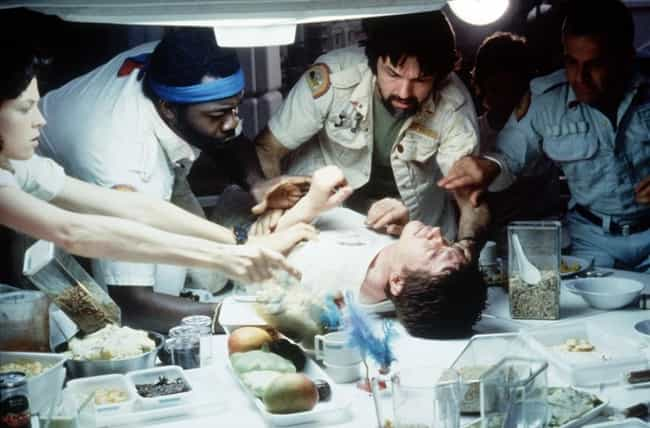 Alien is listed (or ranked) 2 on the list 14 Horror Movie Moments That Were Unscripted