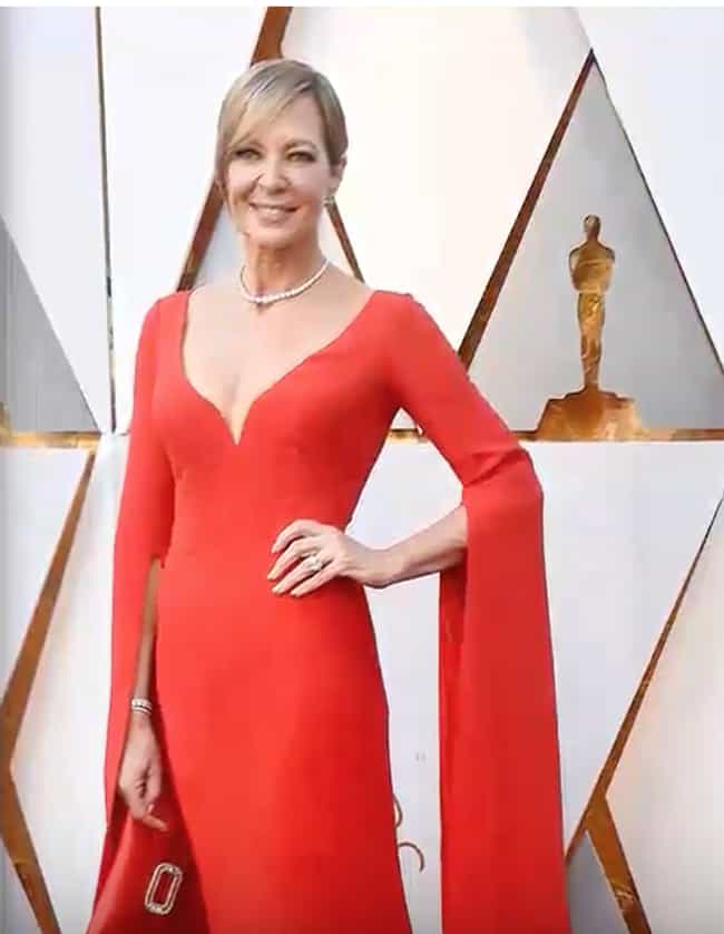 When She Took Home The Best Supporting Actress Oscar For I Tonya In 2018 Allison Janney Sported A Gorgeous Red Reem Acra Gown With Plunging Neckline