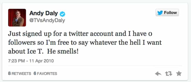 Andy Daly is listed (or ranked) 4 on the list The Very First Tweets From TV Stars