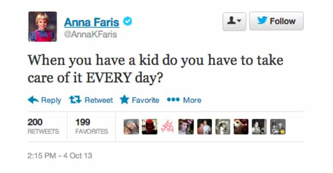 Anna Faris is listed (or ranked) 4 on the list The Funniest Celebrity Tweets of 2013