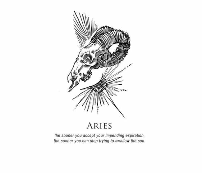 Aries (March 21 - April 19) is listed (or ranked) 1 on the list Artist Amrit Brar Created Super Dark And Twisted Horoscopes For Each Zodiac Sign