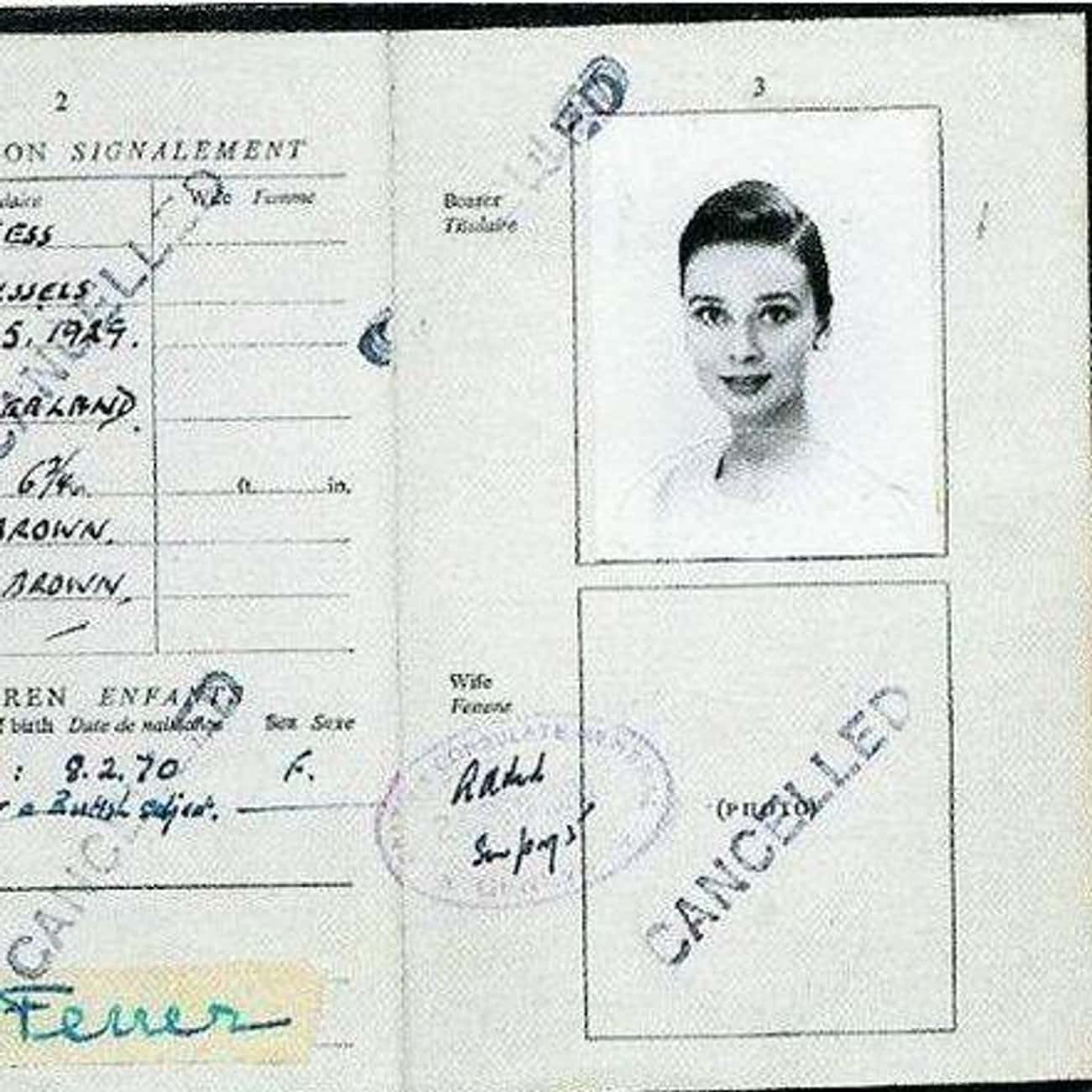 Audrey Hepburn is listed (or ranked) 1 on the list Celebrity Passport Photos