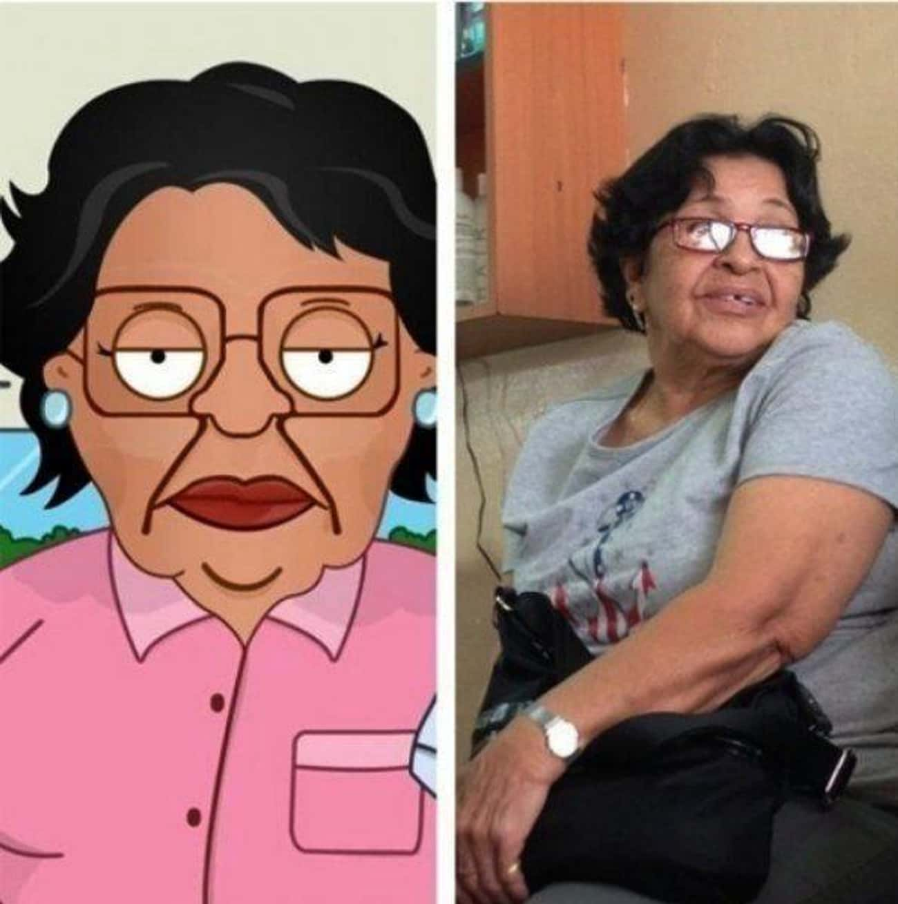 Consuela is listed (or ranked) 1 on the list 24 Real People Who Look Exactly Like Family Guy Characters