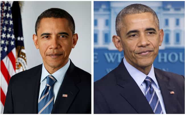 Barack Obama is listed (or ranked) 4 on the list How 14 Presidents Looked At The Start And The End Of Their Presidencies