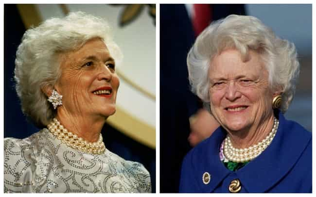 Barbara Bush is listed (or ranked) 4 on the list Pictures Of The First Ladies At The Beginning And End Of Their Tenures In The White House