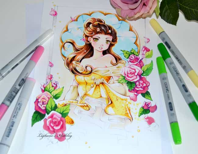 Belle is listed (or ranked) 4 on the list 15 Disney Princesses Drawn As Anime Characters