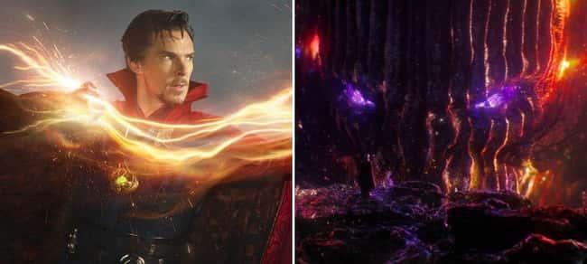Benedict Cumberbatch as Doctor Strange (left) and Dormammu (right)