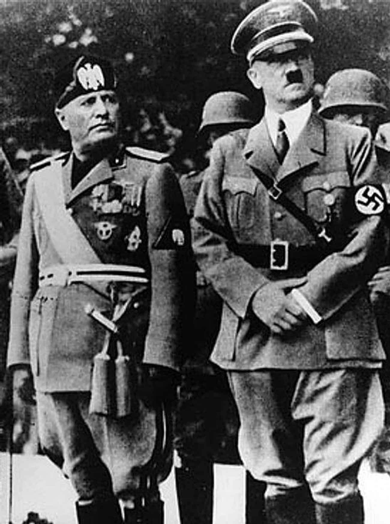 """Benito Mussolini, 5'6"""" is listed (or ranked) 23 on the list 26 Intimidating World Leaders Who You Never Realized Were Super Short"""