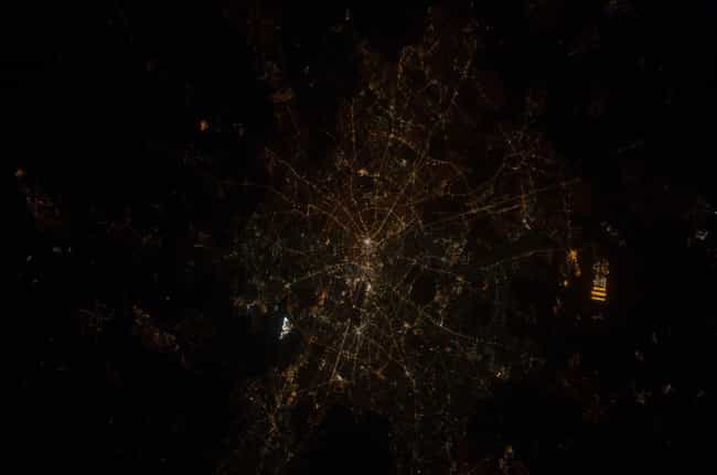 Berlin is listed (or ranked) 5 on the list Cool Aerial Photos of Cities at Night