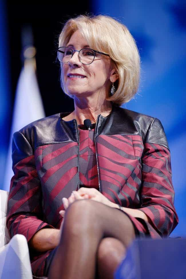 Betsy DeVos is listed (or ranked) 4 on the list Every Trump Cabinet Member's Stance On Science