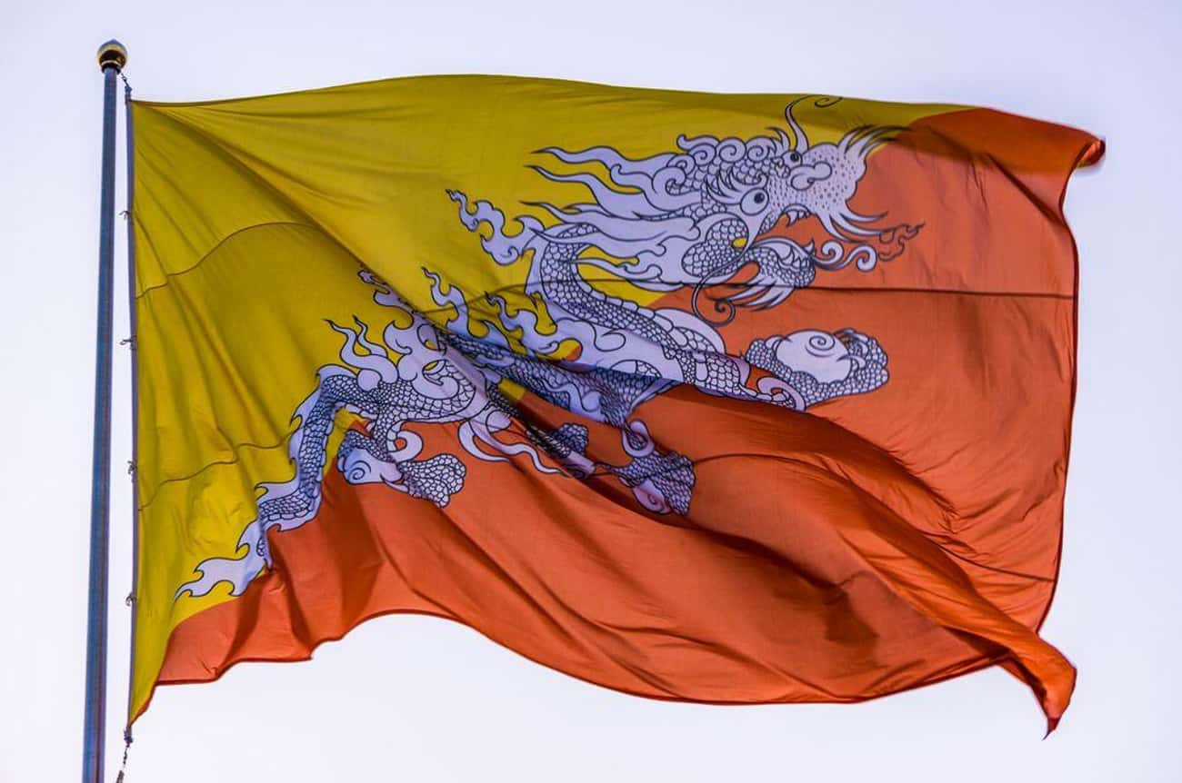 Bhutan is listed (or ranked) 2 on the list The Coolest-Looking National Flags in the World