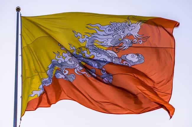 Bhutan is listed (or ranked) 2 on the list The Coolest National Flags
