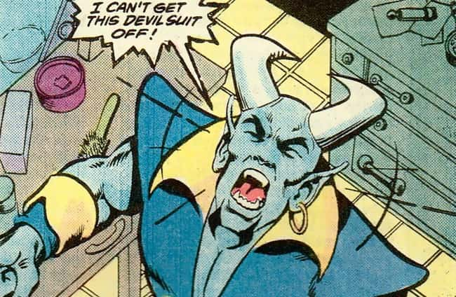 4. Blue Devil's costume was attached to his skin permanently. So it's no longer a suit; it's him.