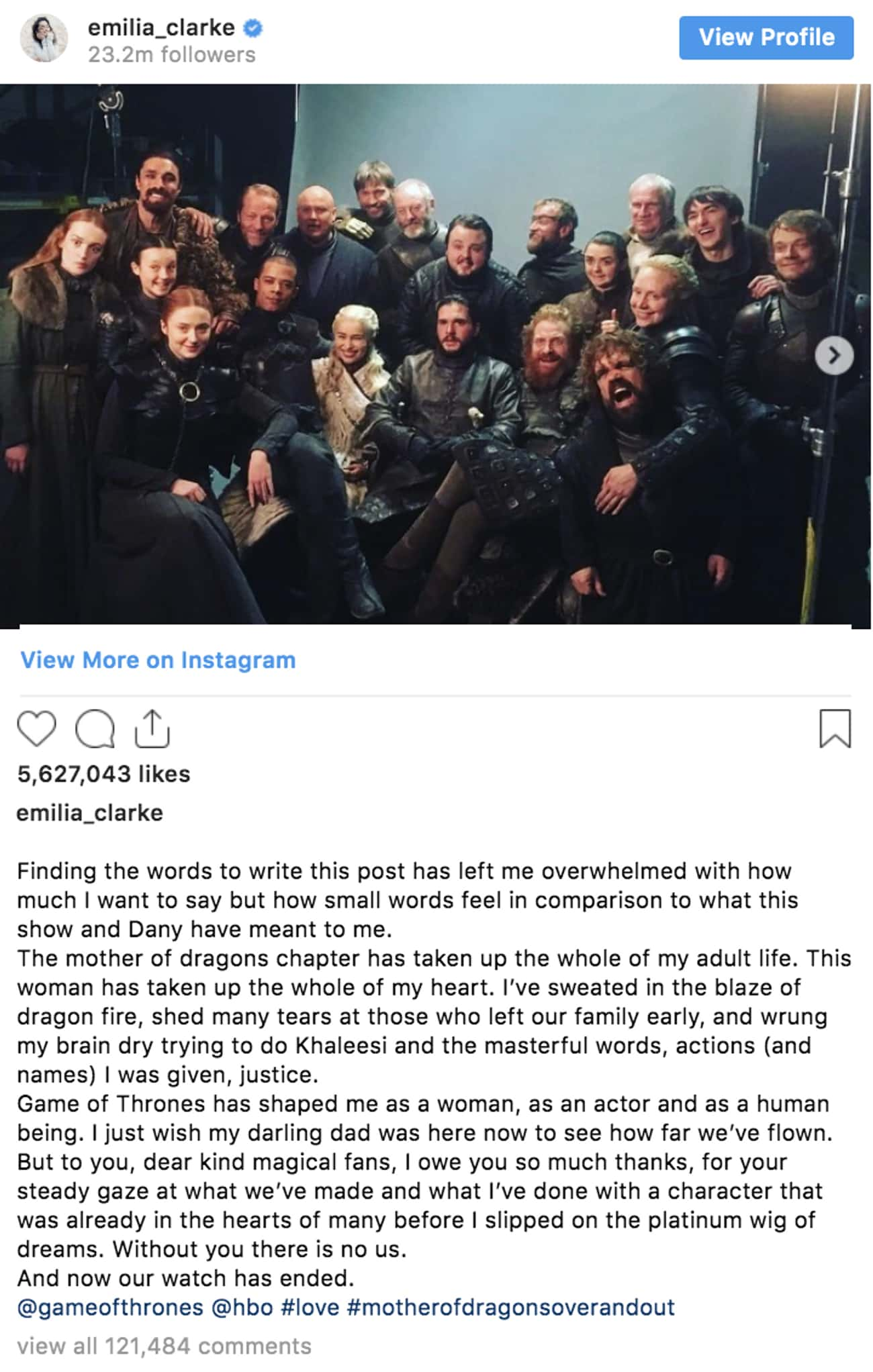 Emilia Clarke is listed (or ranked) 3 on the list 'Game Of Thrones' Cast Reacts To The Series Finale