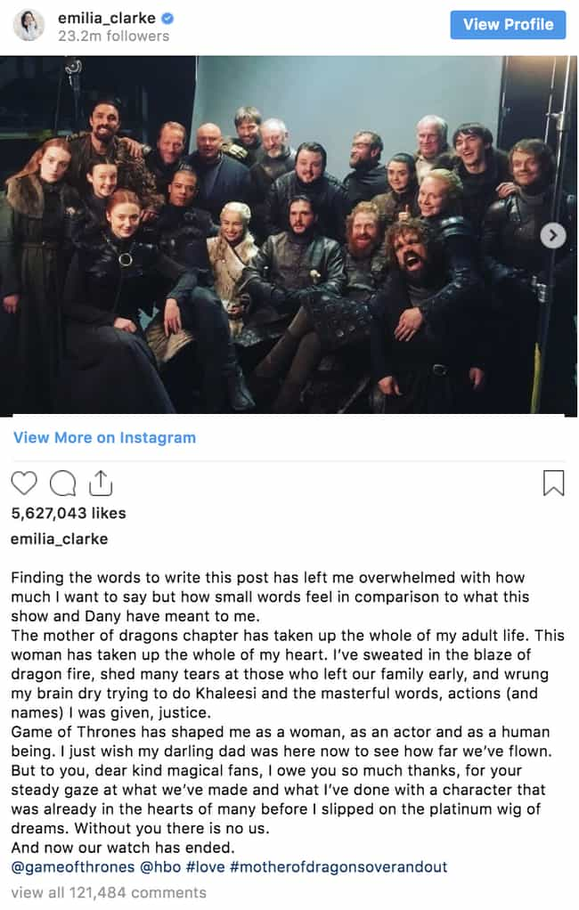 Emilia Clarke is listed (or ranked) 1 on the list 'Game Of Thrones' Cast Reacts To The Series Finale