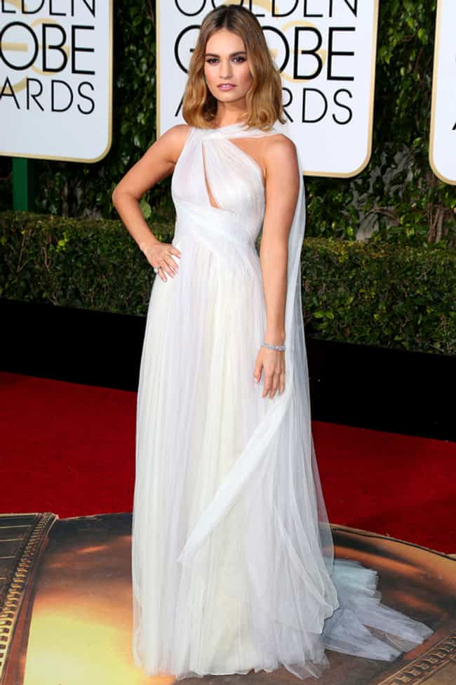 Lily James is listed (or ranked) 3 on the list The Most Stunning Looks at the 2016 Golden Globes