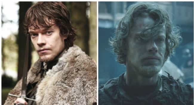Theon Greyjoy is listed (or ranked) 3 on the list Comparing Characters: Season One vs. Season Six
