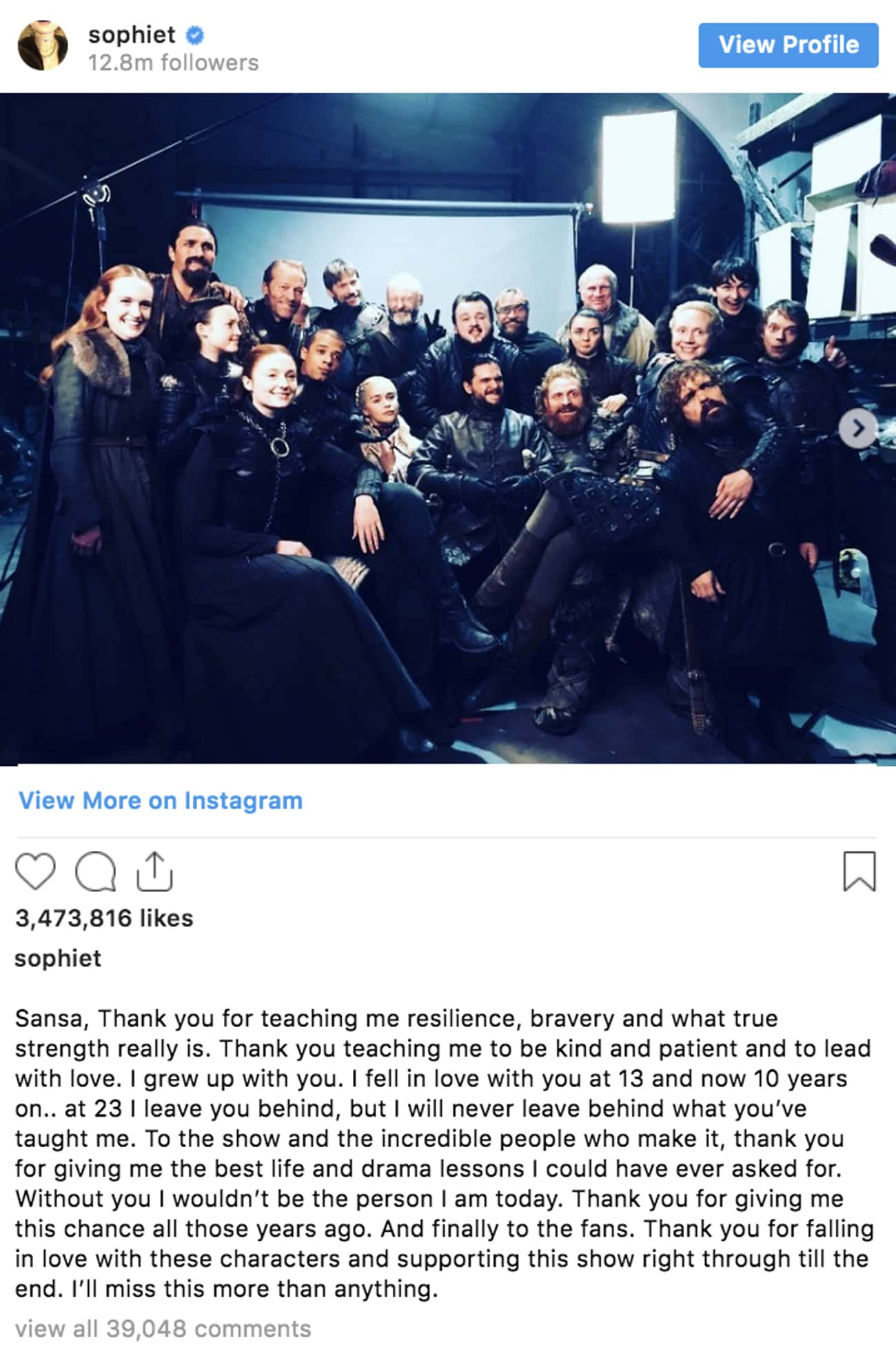Sophie Turner is listed (or ranked) 1 on the list 'Game Of Thrones' Cast Reacts To The Series Finale