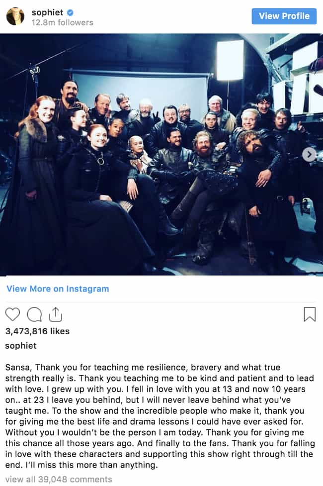 Sophie Turner is listed (or ranked) 3 on the list 'Game Of Thrones' Cast Reacts To The Series Finale