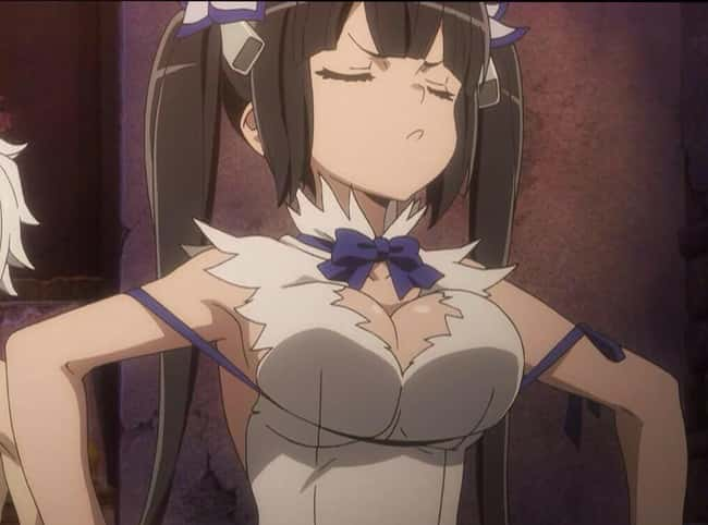 Hestia is listed (or ranked) 13 on the list 23 Anime Girls Whose Huge Boobs Are Actually A Problem