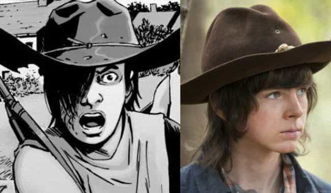 Carl Grimes is listed (or ranked) 4 on the list 'Walking Dead' TV Characters Who Are Most Different From Their Comic Book Counterparts