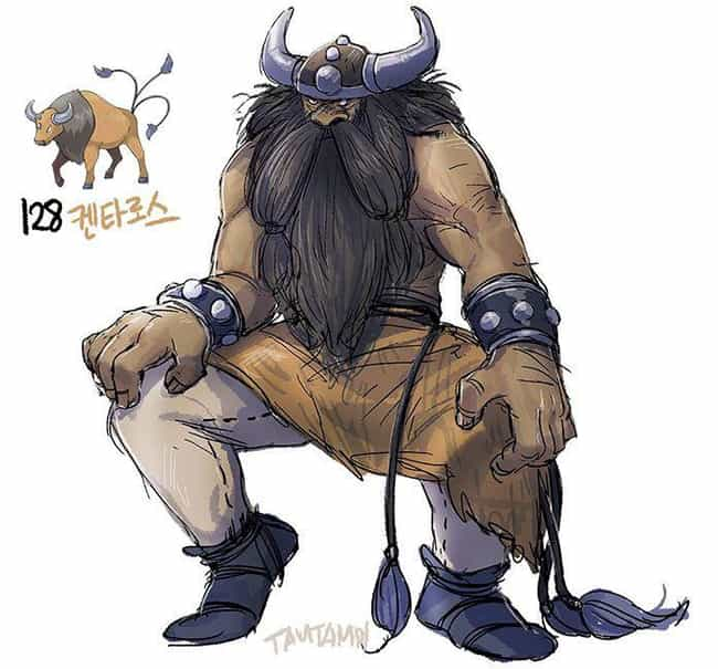 Tauros is listed (or ranked) 2 on the list 38 Incredible Drawings of Pokemon Re-Imagined as Humans