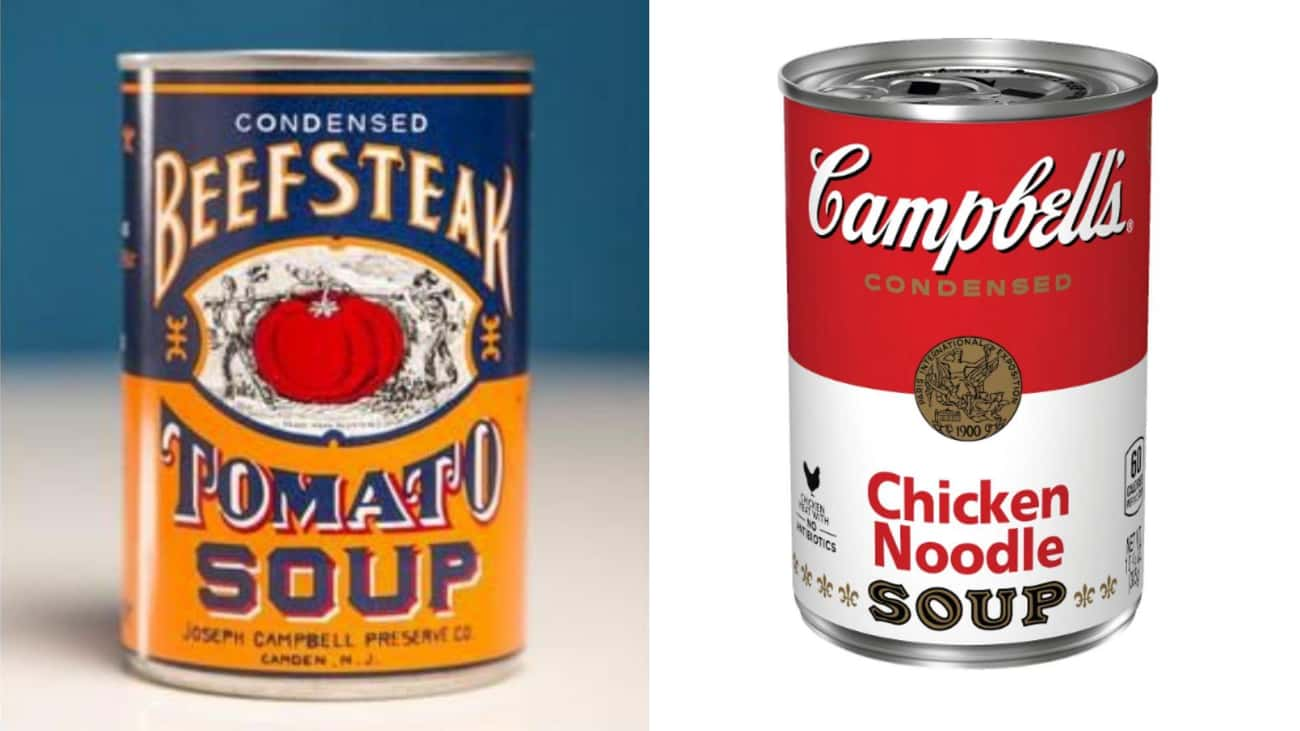 Campbell's Tomato Soup is listed (or ranked) 3 on the list Here's What Processed Food Packaging Used To Look Like