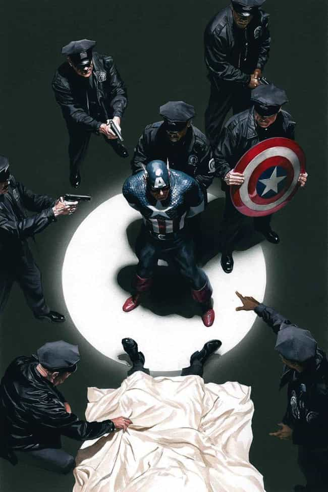 Captain America is listed (or ranked) 3 on the list Superheroes Who Were Falsely Accused Of Heinous Crimes
