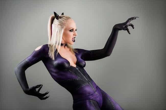 Catwoman is listed (or ranked) 3 on the list 17 Gorgeous Superhero Cosplays Made Entirely Out Of Body Paint