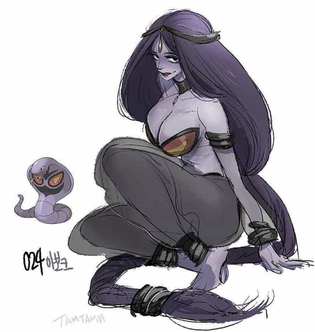 Arbok is listed (or ranked) 3 on the list 38 Incredible Drawings of Pokemon Re-Imagined as Humans
