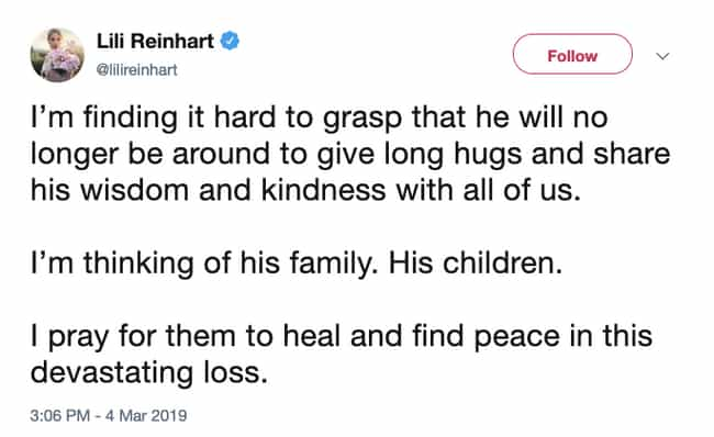 Lili Reinhart is listed (or ranked) 4 on the list Celebrities React To Luke Perry's Death