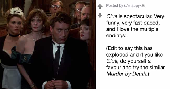 Clue is listed (or ranked) 4 on the list People Are Sharing Their Favorite (And Often Underrated) '80s Movies That Still Hold Up