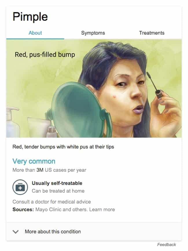 Pimple is listed (or ranked) 3 on the list 48 Totally Weird Medical Drawings Google Thinks You Need