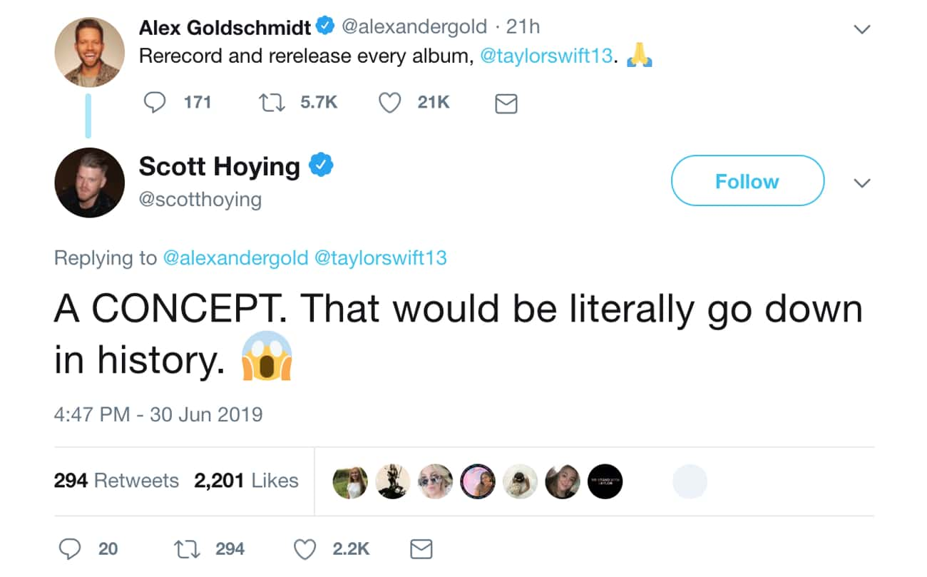 Scott Hoying is listed (or ranked) 3 on the list Everyone Who's Weighed In On The Taylor Swift - Scooter Braun Feud