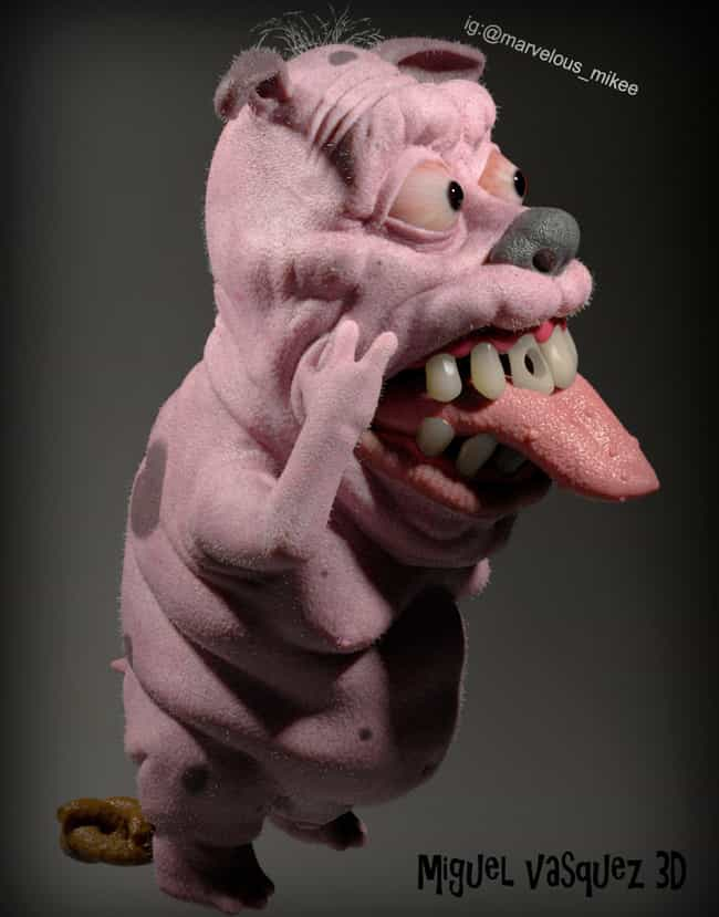 Courage the Cowardly Dog... is listed (or ranked) 3 on the list Miguel Vasquez Creates Realistic Depictions Of Your Favorite Cartoons And They're Upsettingly Good