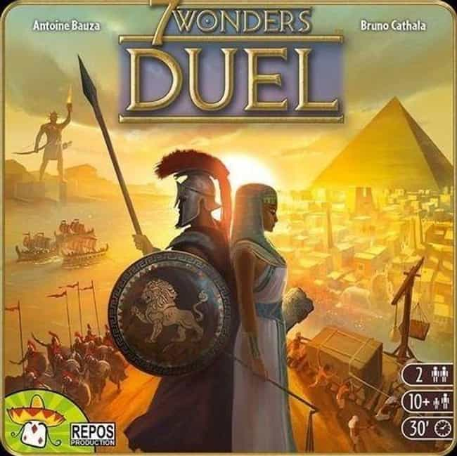 7 Wonders is listed (or ranked) 3 on the list The Most Popular 2 Player Board Games