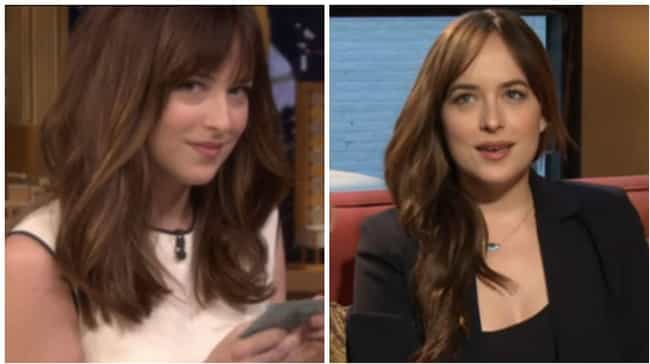 Dakota Johnson is listed (or ranked) 2 on the list Here's What 25 Celebrities Who Usually Have Bangs Look Like Without Them