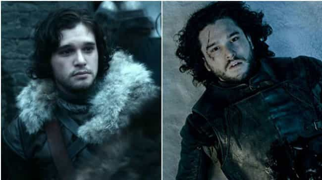 Jon Snow is listed (or ranked) 4 on the list Comparing Characters: Season One vs. Season Six