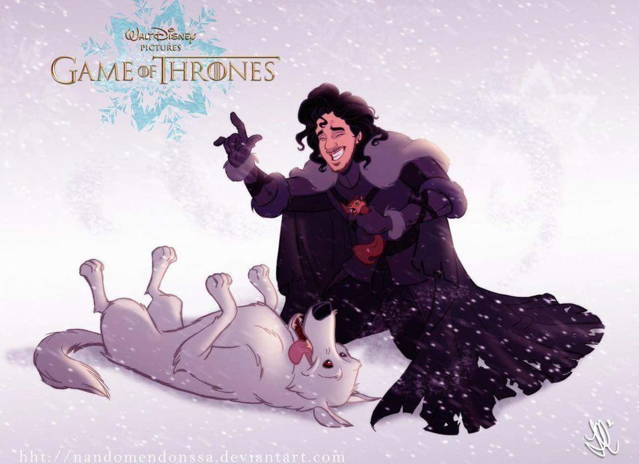 Jon Snow is listed (or ranked) 2 on the list These Fans Drew Your Favorite Game Of Thrones Characters As Disney Cartoons