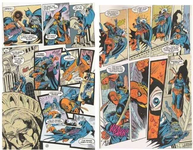 Deathstroke is listed (or ranked) 4 on the list 14 Times Batman Got the Crap Kicked Out of Him