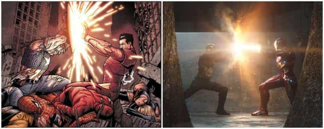 Captain America: Civil War is listed (or ranked) 2 on the list Marvel Movies That Perfectly Recreate Panels From The Comics