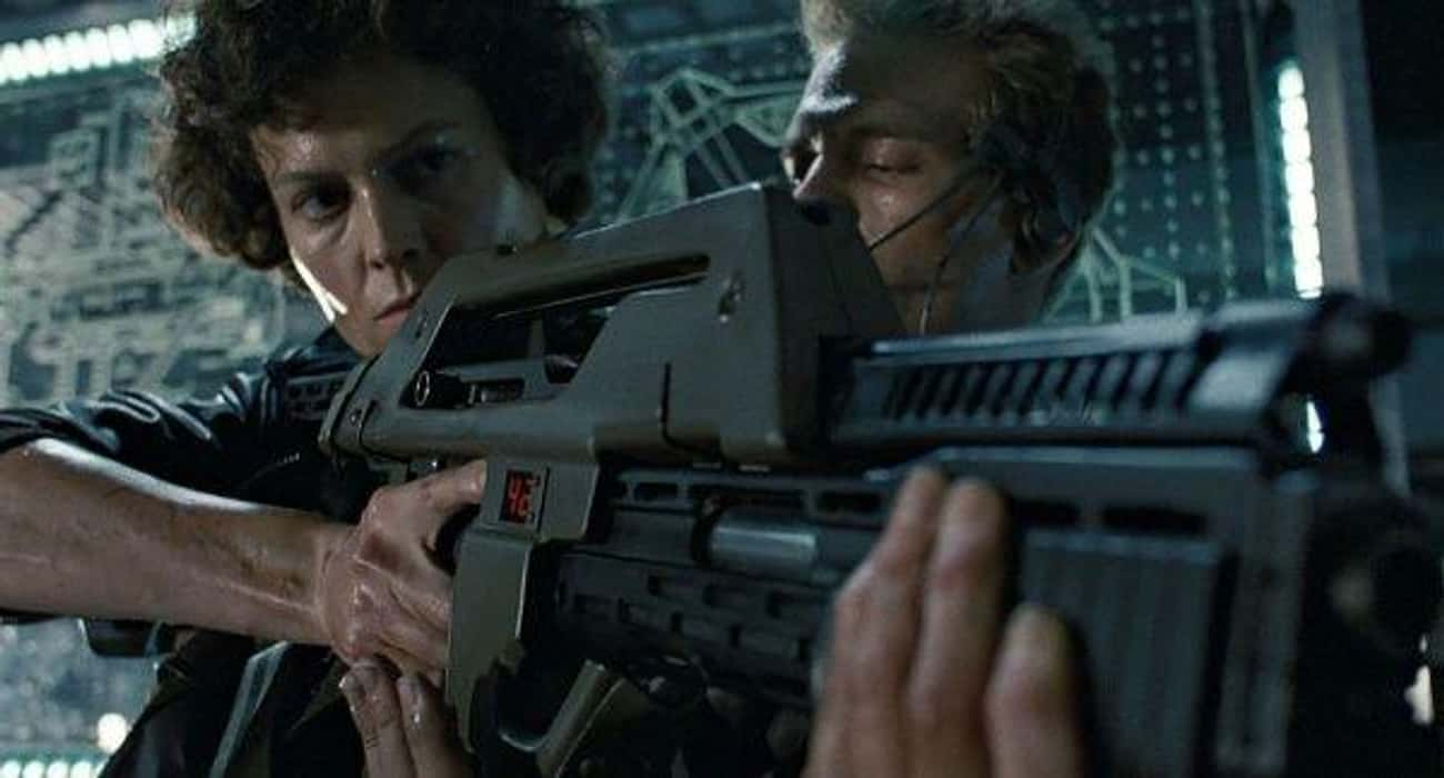 M41A Pulse Rifle is listed (or ranked) 3 on the list The Coolest Signature Weapons In Movie History, Ranked
