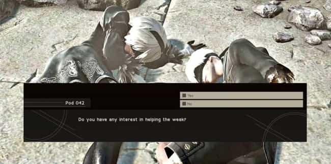NieR: Automata is listed (or ranked) 4 on the list The 12 Most WTF Video Game Endings That Left You Speechless
