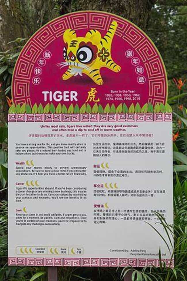 Tiger (Zodiac) is listed (or ranked) 3 on the list Chinese Zodiac Signs