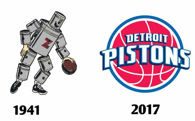 Detroit Pistons is listed (or ranked) 3 on the list The Fascinating Evolution Of Sports Team Logos