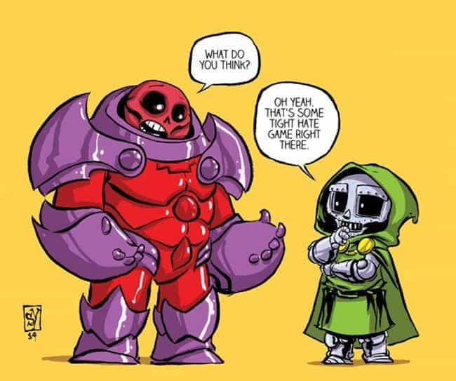 Doctor Doom is listed (or ranked) 2 on the list Skottie Young Art That Perfectly Capture Your Favorite Marvel Heroes As Toddlers