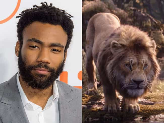 Donald Glover is listed (or ranked) 1 on the list 'The Lion King' Voice Actors Vs. The Characters They're Voicing