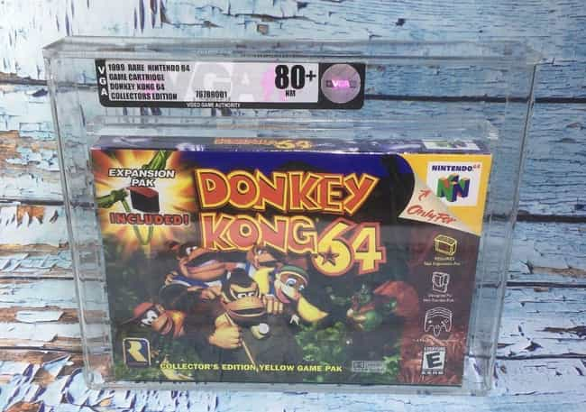 Donkey Kong 64 is listed (or ranked) 7 on the list The Most Ridiculously Valuable Nintendo 64 Games
